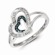 STERLING SILVER .08CT BLUE AND WHITE DIAMOND DOUBLE  HEART RING - SIZE 8 - £72.65 GBP
