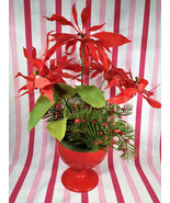 Kitschy Vintage Plastic Pedestal Potted Red Poinsettia + Red Berries  Ho... - $20.00