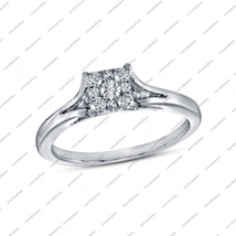 Graceful Square Shaped Round Cut White Cz White Fn. Engagement Wedding Ring - $62.99