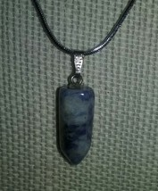 Genuine Natural Sodalite Gemstone Pendant On Silver Chain Necklace Jewel... - $3.99