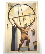 Vintage Postcard Atlas Statue Rockerfeller Center New Your City 1940's - $9.99