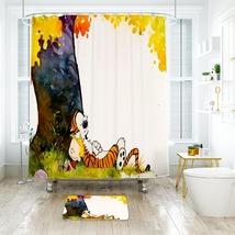 Cartoon 48 Shower Curtain Waterproof Polyester Fabric & Bath Mat For Bathroom - $15.30+