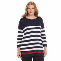 Plus 1X Croft & Barrow Red White Blue Navy Stripe Textured Tunic Sweater... - $28.19