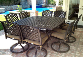 Cast aluminum patio furniture 9pc outdoor dining set with 64 square table Bronze image 1