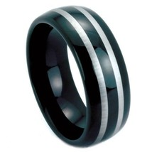 Black tungsten carbide ring features a two-tone... - $39.99