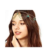 Campsis Gold Vintage Fashion Head Chain Turquoise Layering Indian Chains... - $8.48