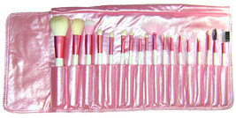 18 pcs Pink Mineral Goat Hair brushes makeup Set Kit with pouch - $16.65