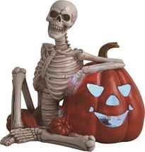 "Resin 8.75"" Creepy Skeleton & Pumpkin with LED Halloween Decoration - $24.99"