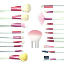 21 pcs Pink Mineral Goat Hair brushes with Kabuki makeup Set Kit - $19.30