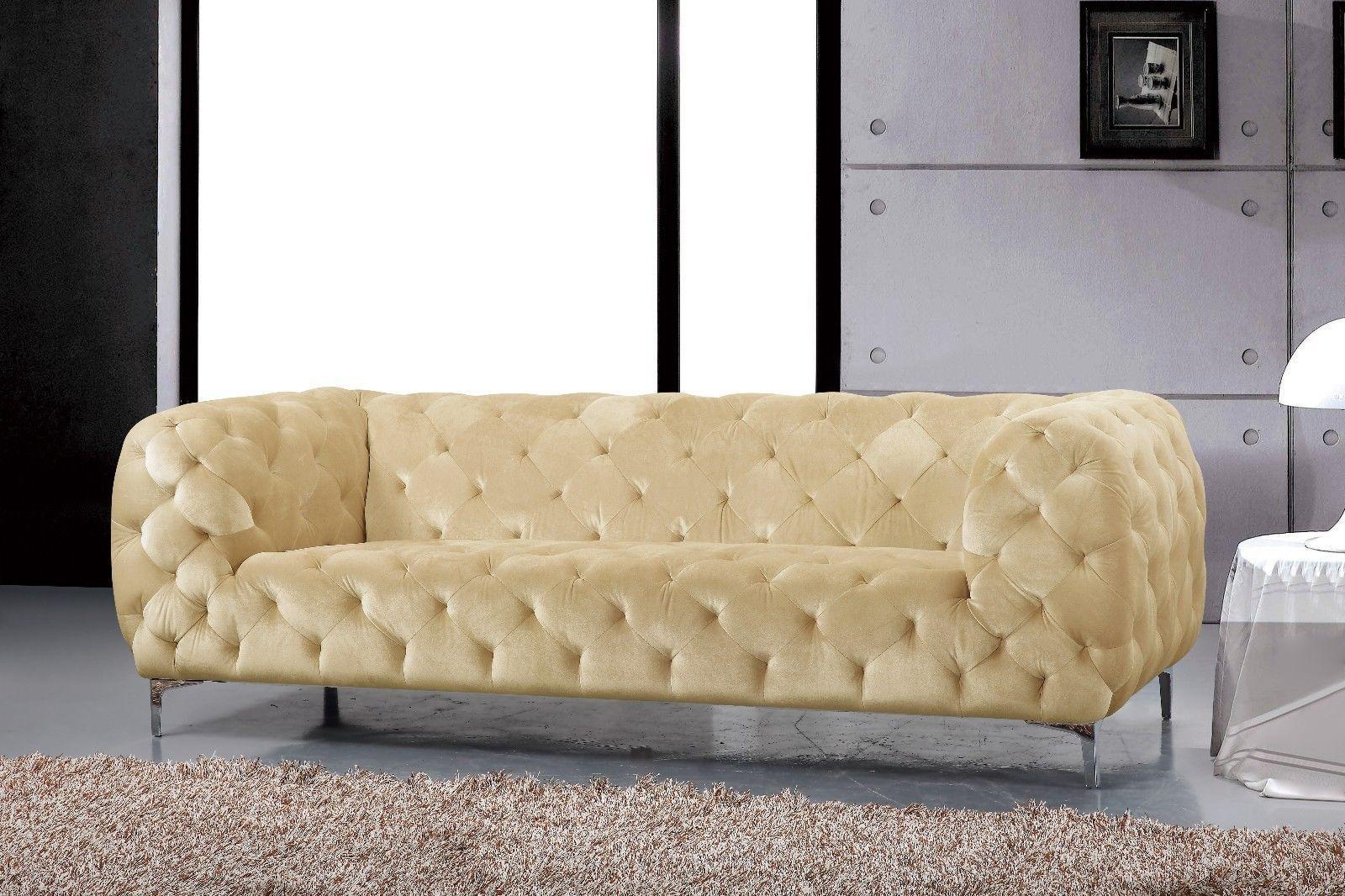 Meridian 646 Mercer Living Room Sofa in Beige Chrome Legs Contemporary Style