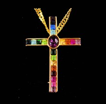 Rainbow Cross necklace pendant Brooch religious christian jewelry Gay in... - $85.00