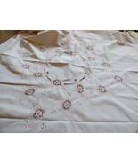 VTG Linen Embroidery Crochet Lace Decor Accent TableCloth Ecru color flo... - $84.15