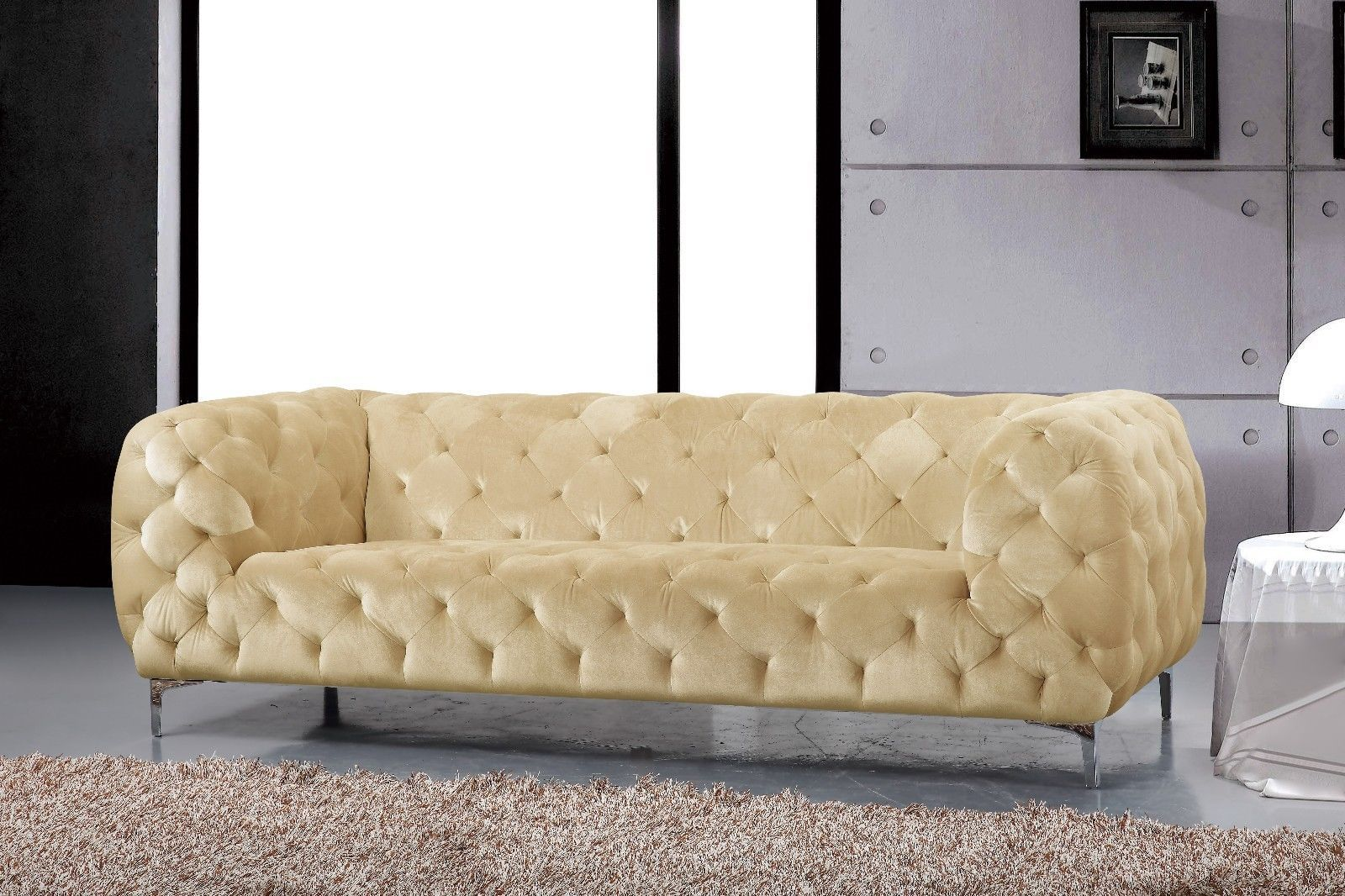 Meridian 646 Mercer Living Room Set 3pcs in Beige Chrome Legs Contemporary Style