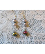 Handcrafted Pierced Earrings With Irridecent Beads and Lilac Beads - $6.00