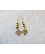 Handcrafted Pierced Earrings With Hearts, Yellow And Black Beads - $5.50