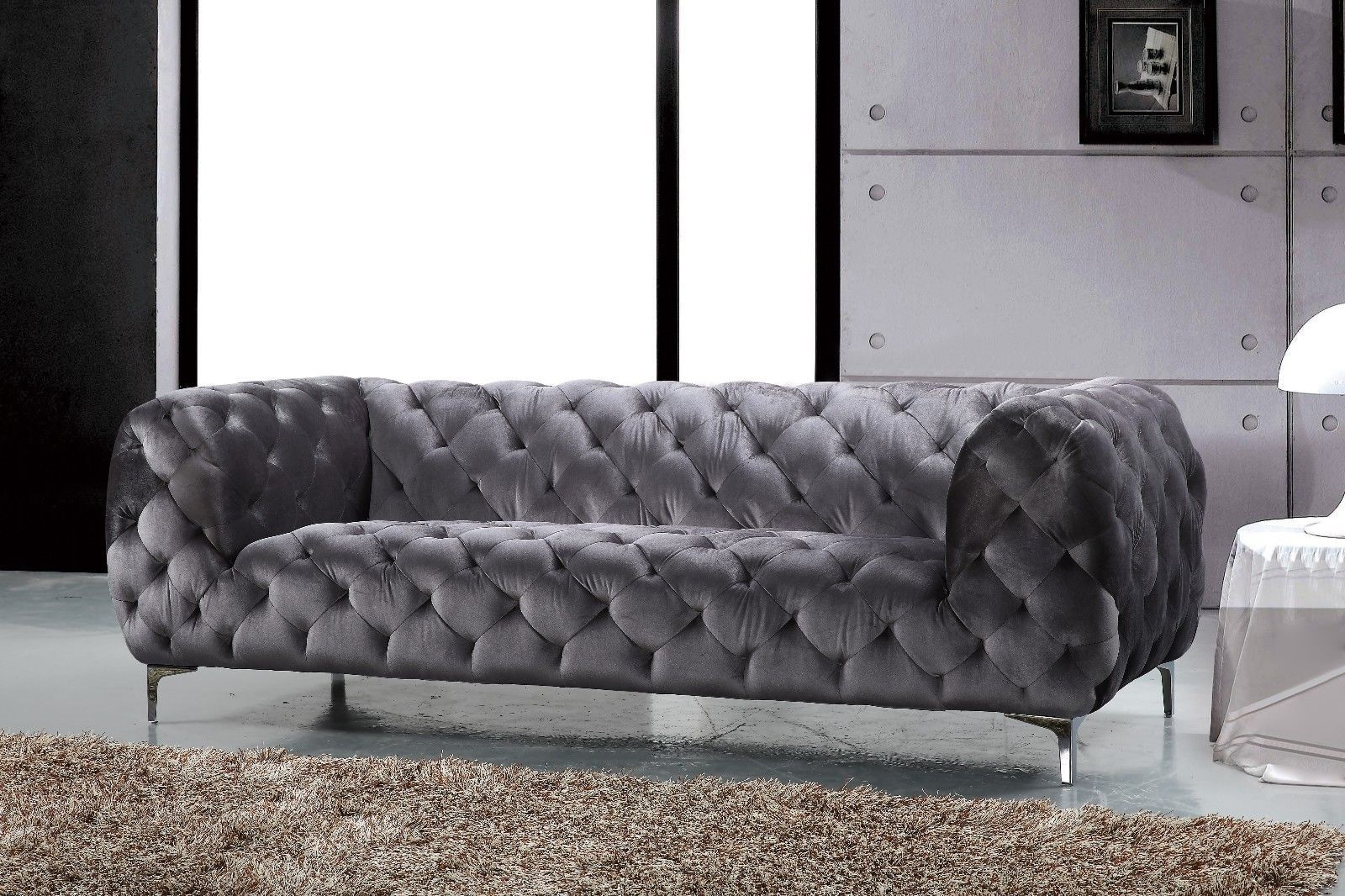 Meridian 646 Grey Velvet Living Room Sofa Set 2pc. Chic Contemporary Style