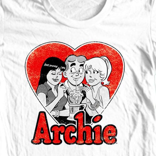 Archie comics girls  retro t shirt white retro tee closeup