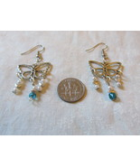 Handcrafted Pierced Earrings With Butterflies And Beads - $5.50