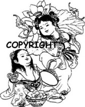 LITTLE JAPANESE GIRLS new mounted rubber stamp - $7.50