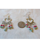 Handcrafted Pierced Earrings With Hearts And Multicolored Beads - $5.50