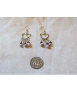 Handcrafted Pierced Earrings With Hearts And Purple Beads - $5.50