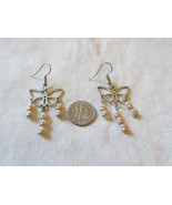 Handcrafted Pierced Earrings With Hearts And Bronze Beads - $5.50