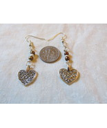 Handcrafted Pierced Earrings With Filigree Hearts And Brown Beads - $5.50
