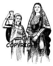 WOMEN WITH POTS new mounted rubber stamp - $6.50
