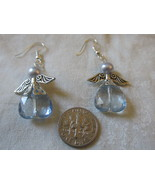 Handcrafted Pierced Earrings With Light Blue Angels - $5.50