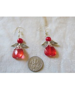 Handcrafted Pierced Earrings With Red Angels - $6.00