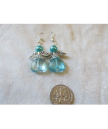 Handcrafted Pierced Earrings With Teal Angels - $6.00
