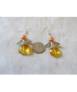 Handcrafted Pierced Earrings With Orange Angels - $6.00