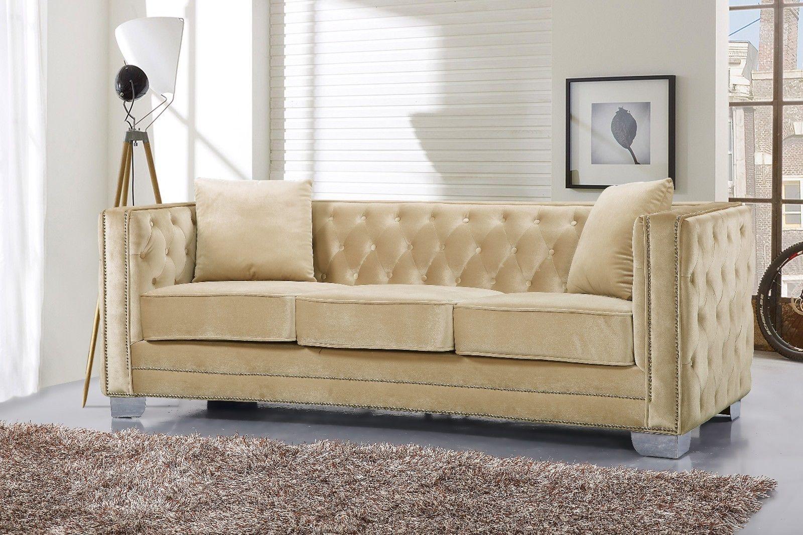 Meridian 648 Velvet Living Room Sofa Set 3pc. Tufted Beige Contemporary Style