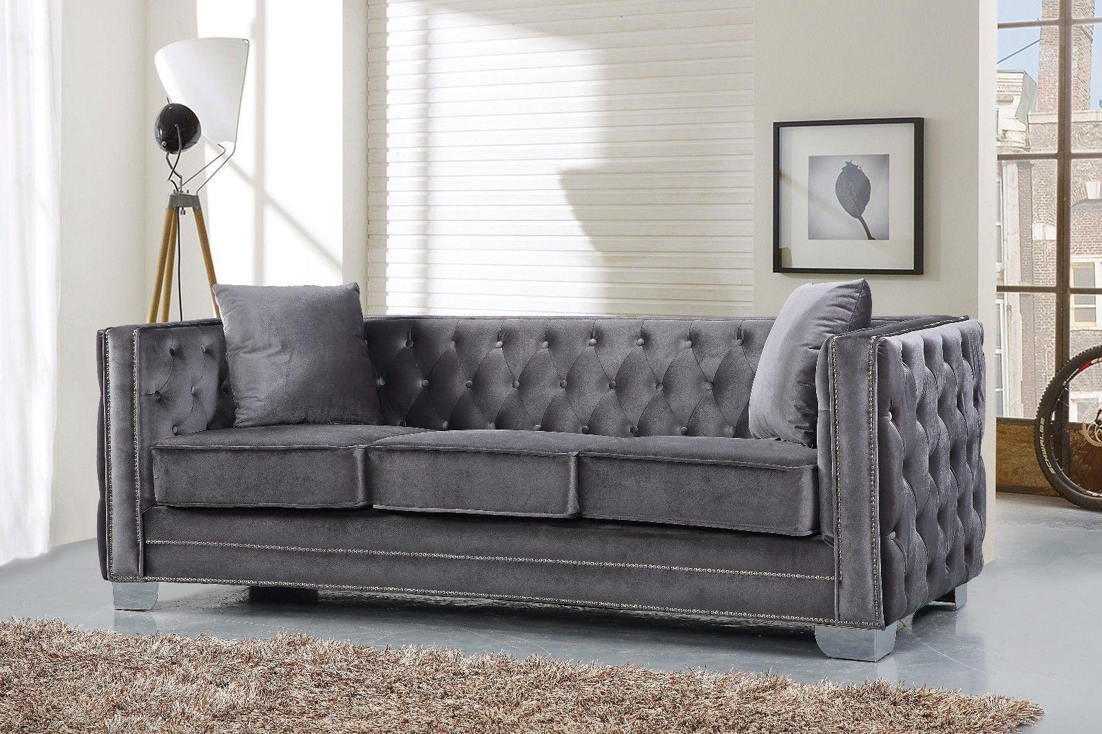 Meridian 648 Velvet Living Room Sofa Set 2pc. Tufted Grey Contemporary Style