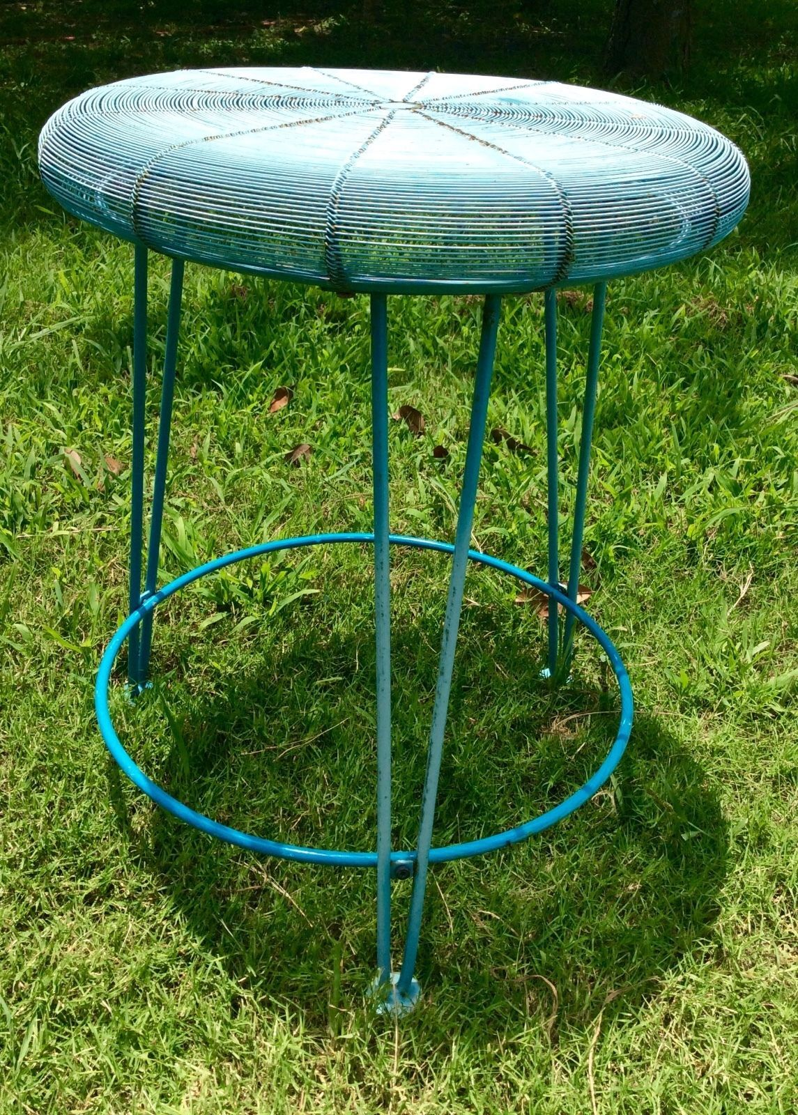 Vintage patio Wrought Iron Hairpin Leg Table plant Stand Mid Century Modern