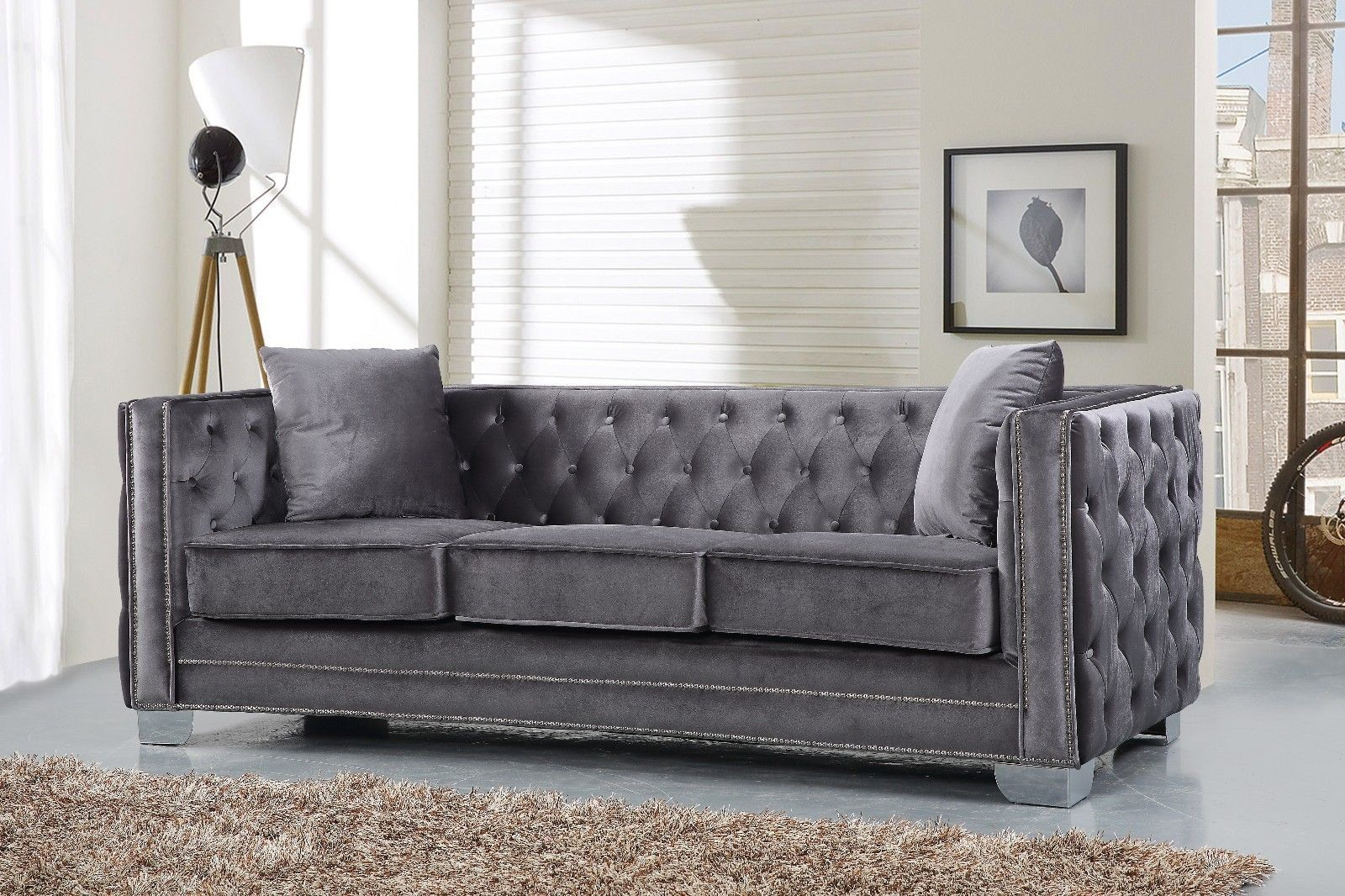 Meridian 648 Velvet Living Room Sofa Set 3pc. Tufted Grey Contemporary Style