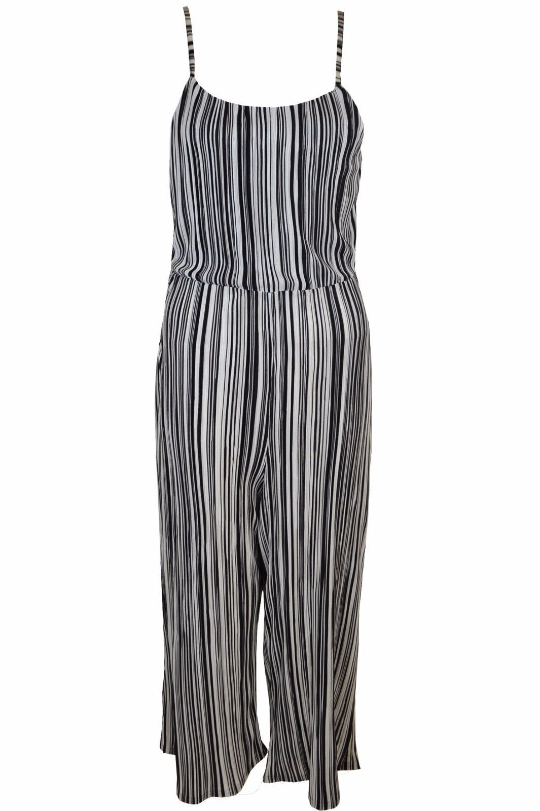 66937f1358b S l1600. S l1600. Previous. New Womens Ladies Pleated Strappy Tie Back  Culotte Jumpsuit Stripe Size 6-14 UK