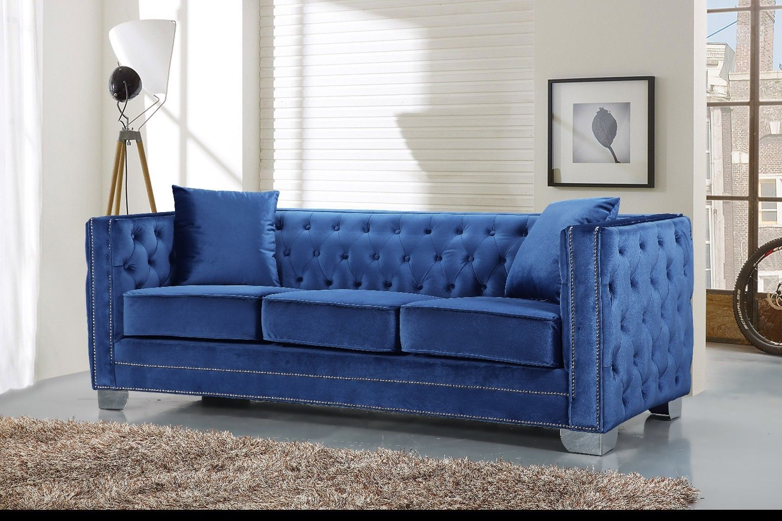 Meridian 648 Light Blue Velvet Living Room Sofa Chic Contemporary Style