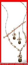 "Necklace, Earring Cabochon ""Y"" Gift Set ~ Brown & Silvertone ~ - $24.70"