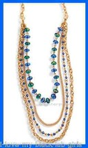 Necklace Sparkling Metallic Multi Strand Neckllace Goldtone Blue-Green N... - $19.75