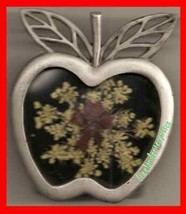 Photo Frame Pewter Apple w/Real Dried Flowers Stand Up - $9.85