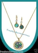 Necklace, Earring Geniune Abalone Pendant Goldtone Gift Set NEW Boxed - $29.65