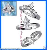 Ring CZ Marquise Set of Three Rings ~Silvertone~ Size 7 (Jacket Set) - $35.59