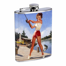 Flask 8oz Stainless Steel Classic Vintage Model Pin Up Girl Design-154 W... - €11,04 EUR