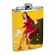 Flask 8oz Stainless Steel Classic Vintage Model Pin Up Girl Design-158 Whiskey - $12.82