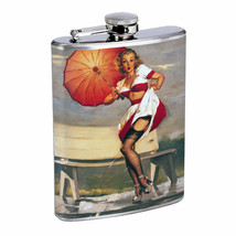 Flask 8oz Stainless Steel Classic Vintage Model Pin Up Girl Design-162 Whiskey - $12.82