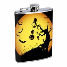 Flask 8oz Stainless Steel Halloween D 3 Bats Pumpkins Owl Scary Scene Trick - $12.82