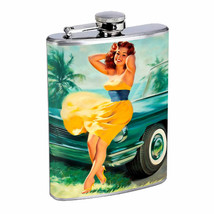 Flask 8oz Stainless Steel Classic Vintage Model Pin Up Girl Design-167 Whiskey - $12.82