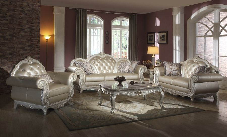 Meridian 652 Leather Living Room Sofa Set 2pc. Tufted Pearl White Traditional