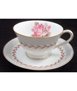 1950s Noritake Japan Rosemont Replacement Cup Saucer Pink Open Rose Laurel Leaf - $7.97